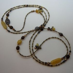 Silpada Sterling Silver Long Brown Beaded Necklace